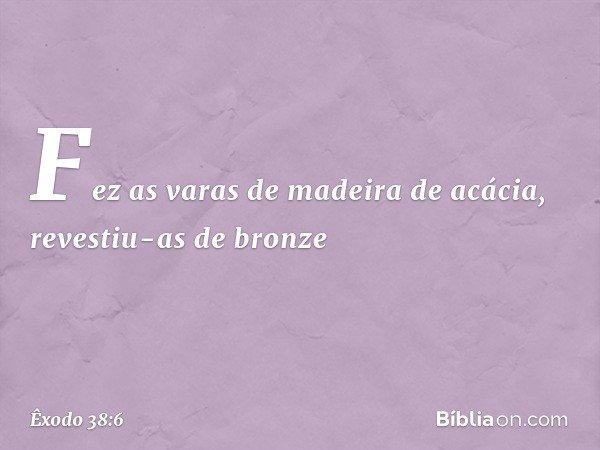 Fez as varas de madeira de acácia, revestiu-as de bronze -- Êxodo 38:6
