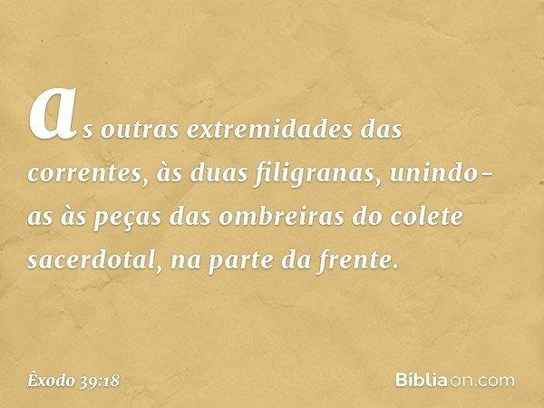 as outras extremidades das correntes, às duas filigranas, unindo-as às peças das ombreiras do colete sacerdotal, na parte da frente. -- Êxodo 39:18