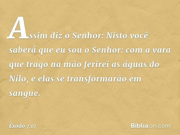Assim diz o Senhor: Nisto você saberá que eu sou o Senhor: com a vara que trago na mão ferirei as águas do Nilo, e elas se transformarão em sangue. -- Êxodo 7:
