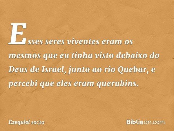 Esses seres viventes eram os mesmos que eu tinha visto debaixo do Deus de Israel, junto ao rio Quebar, e percebi que eles eram querubins. -- Ezequiel 10:20
