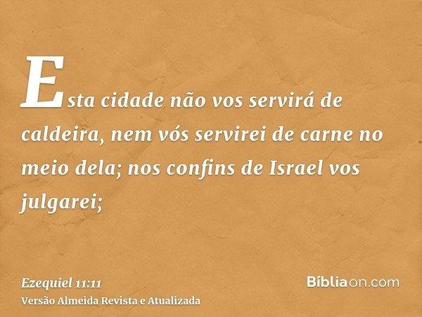 Esta cidade não vos servirá de caldeira, nem vós servirei de carne no meio dela; nos confins de Israel vos julgarei;
