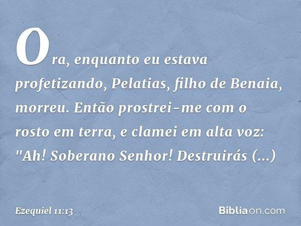 """Ora, enquanto eu estava profetizando, Pelatias, filho de Benaia, morreu. Então prostrei-me com o rosto em terra, e clamei em alta voz: """"Ah! Soberano Senhor! Des"""