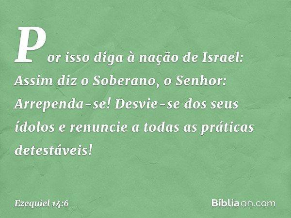"""""""Por isso diga à nação de Israel: Assim diz o Soberano, o Senhor: Arrependa-se! Desvie-se dos seus ídolos e renuncie a todas as práticas detestáveis! -- Ezequie"""