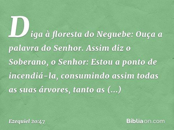 Diga à floresta do Neguebe: Ouça a palavra do Senhor. Assim diz o Soberano, o Senhor: Estou a ponto de incendiá-la, consumindo assim todas as suas árvores, tant