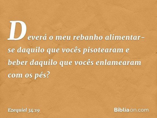 Deverá o meu rebanho alimentar-se daquilo que vocês pisotearam e beber daquilo que vocês enlamearam com os pés? -- Ezequiel 34:19