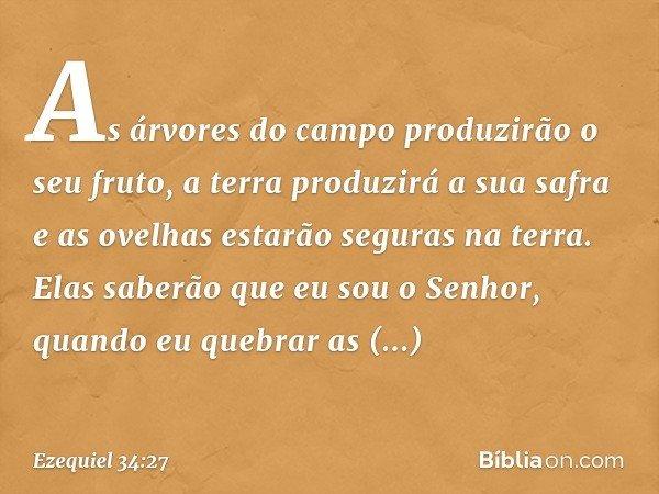As árvores do campo produzirão o seu fruto, a terra produzirá a sua safra e as ovelhas estarão seguras na terra. Elas saberão que eu sou o Senhor, quando eu que