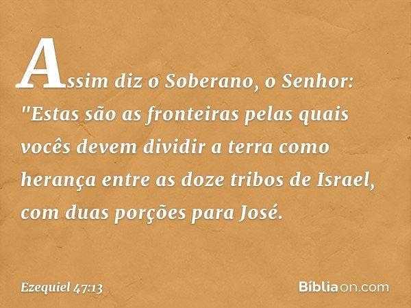 """Assim diz o Soberano, o Senhor: """"Estas são as fronteiras pelas quais vocês devem dividir a terra como herança entre as doze tribos de Israel, com duas porções p"""