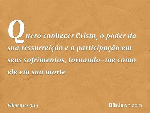 Quero conhecer Cristo, o poder da sua ressurreição e a participação em seus sofrimentos, tornando-me como ele em sua morte -- Filipenses 3:10
