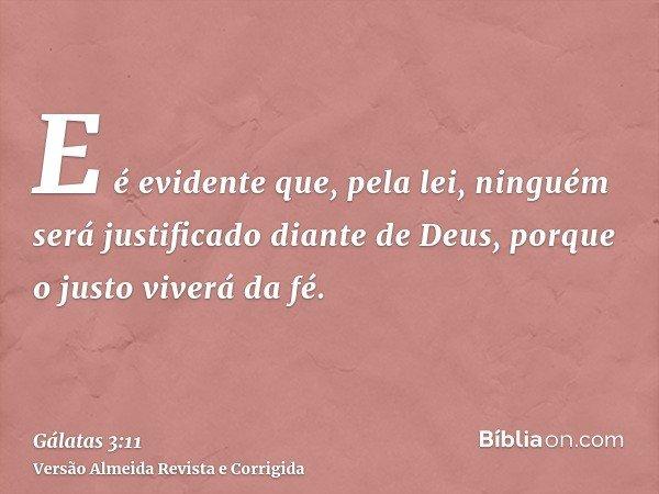E é evidente que, pela lei, ninguém será justificado diante de Deus, porque o justo viverá da fé.
