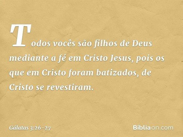 Todos vocês são filhos de Deus mediante a fé em Cristo Jesus, pois os que em Cristo foram batizados, de Cristo se revestiram. -- Gálatas 3:26-27