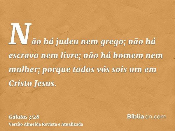 Não há judeu nem grego; não há escravo nem livre; não há homem nem mulher; porque todos vós sois um em Cristo Jesus.