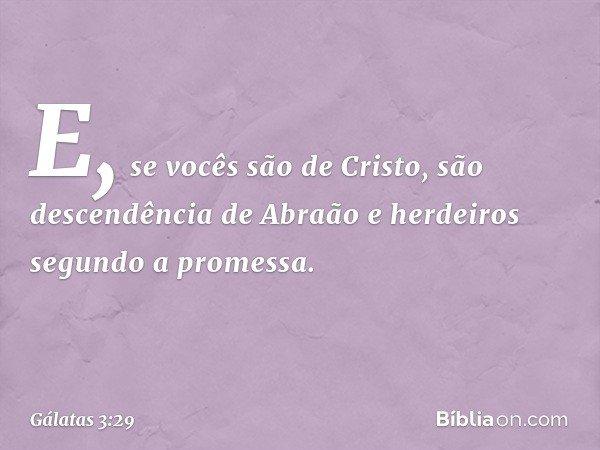 E, se vocês são de Cristo, são descendência de Abraão e herdeiros segundo a promessa. -- Gálatas 3:29
