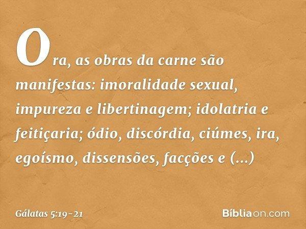 Ora, as obras da carne são manifestas: imoralidade sexual, impureza e libertinagem; idolatria e feitiçaria; ódio, discórdia, ciúmes, ira, egoísmo, dissensões, f