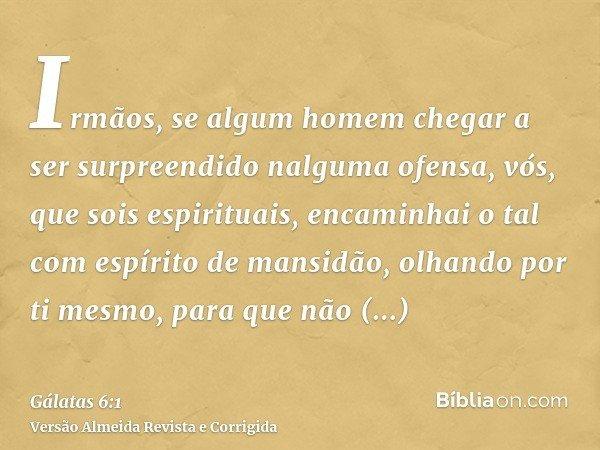 Irmãos, se algum homem chegar a ser surpreendido nalguma ofensa, vós, que sois espirituais, encaminhai o tal com espírito de mansidão, olhando por ti mesmo, par