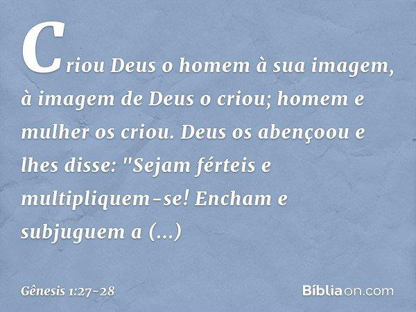 """Criou Deus o homem à sua imagem, à imagem de Deus o criou; homem e mulher os criou. Deus os abençoou e lhes disse: """"Sejam férteis e multipliquem-se! Encham e su"""