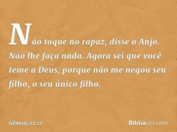 """""""Não toque no rapaz"""", disse o Anjo. """"Não lhe faça nada. Agora sei que você teme a Deus, porque não me negou seu filho, o seu único filho."""" -- Gênesis 22:12"""