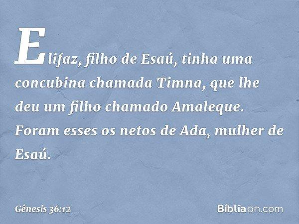 Elifaz, filho de Esaú, tinha uma concubina chamada Timna, que lhe deu um filho chamado Amaleque. Foram esses os netos de Ada, mulher de Esaú. -- Gênesis 36:12