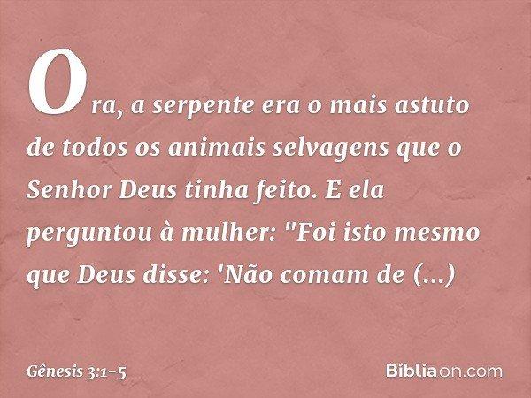"""Ora, a serpente era o mais astuto de todos os animais selvagens que o Senhor Deus tinha feito. E ela perguntou à mulher: """"Foi isto mesmo que Deus disse: 'Não co"""