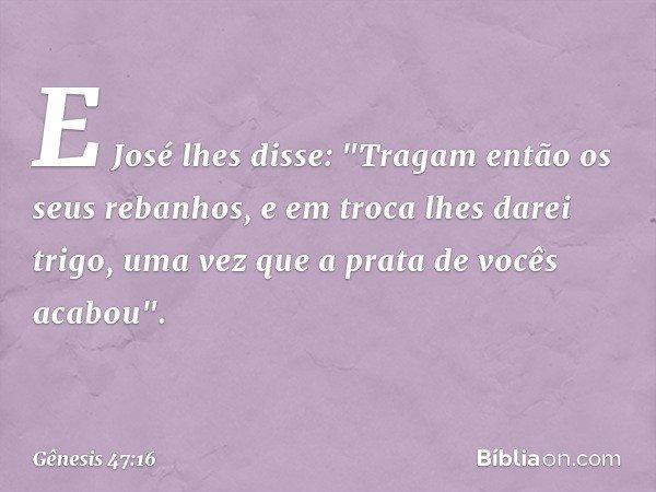 E José lhes disse: