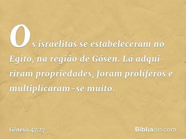 Os israelitas se estabeleceram no Egito, na região de Gósen. Lá adquiriram propriedades, foram prolíferos e multiplicaram-se muito. -- Gênesis 47:27
