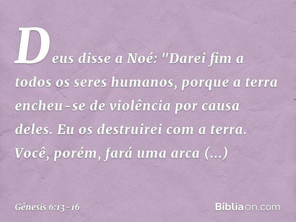 """Deus disse a Noé: """"Darei fim a todos os seres humanos, porque a terra encheu-se de violência por causa deles. Eu os destruirei com a terra. Você, porém, fará"""