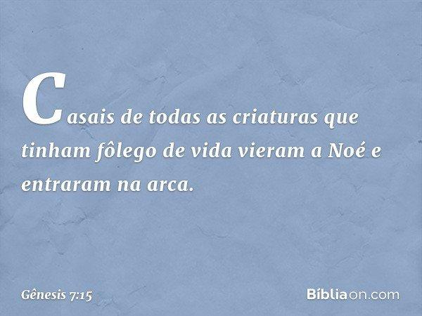 Casais de todas as criaturas que tinham fôlego de vida vieram a Noé e entraram na arca. -- Gênesis 7:15
