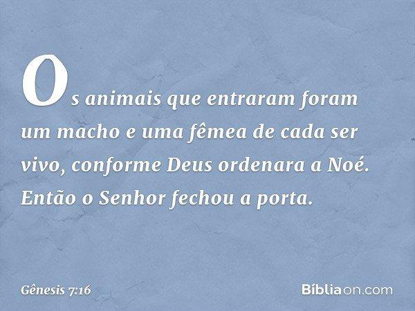 Os animais que entraram foram um macho e uma fêmea de cada ser vivo, conforme Deus ordenara a Noé. Então o Senhor fechou a porta. -- Gênesis 7:16