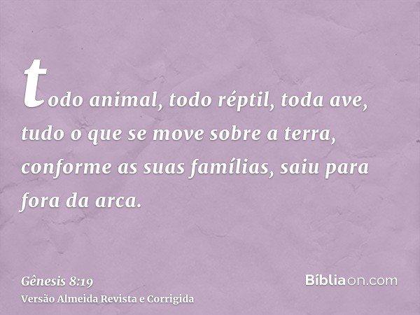 todo animal, todo réptil, toda ave, tudo o que se move sobre a terra, conforme as suas famílias, saiu para fora da arca.
