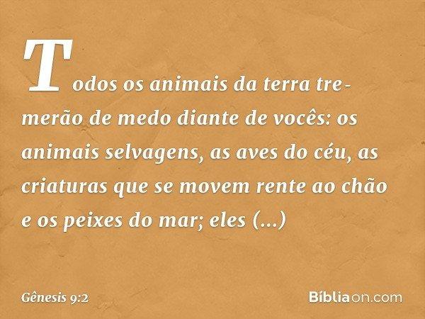 Todos os animais da terra tremerão de medo diante de vocês: os animais selvagens, as aves do céu, as criaturas que se movem rente ao chão e os peixes do mar;
