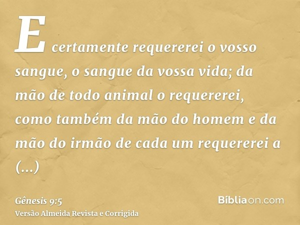 E certamente requererei o vosso sangue, o sangue da vossa vida; da mão de todo animal o requererei, como também da mão do homem e da mão do irmão de cada um req