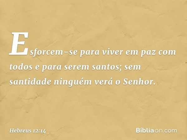 Esforcem-se para viver em paz com todos e para serem santos; sem santidade ninguém verá o Senhor. -- Hebreus 12:14