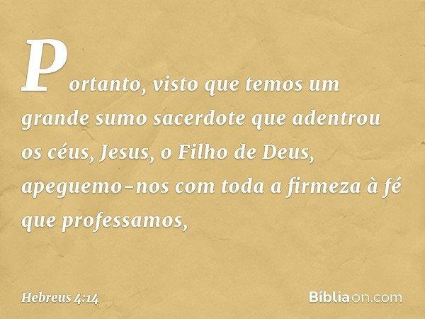 Portanto, visto que temos um grande sumo sacerdote que adentrou os céus, Jesus, o Filho de Deus, apeguemo-nos com toda a firmeza à fé que professamos, -- Hebreu