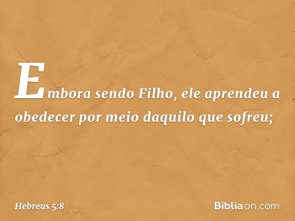Embora sendo Filho, ele aprendeu a obedecer por meio daquilo que sofreu; -- Hebreus 5:8