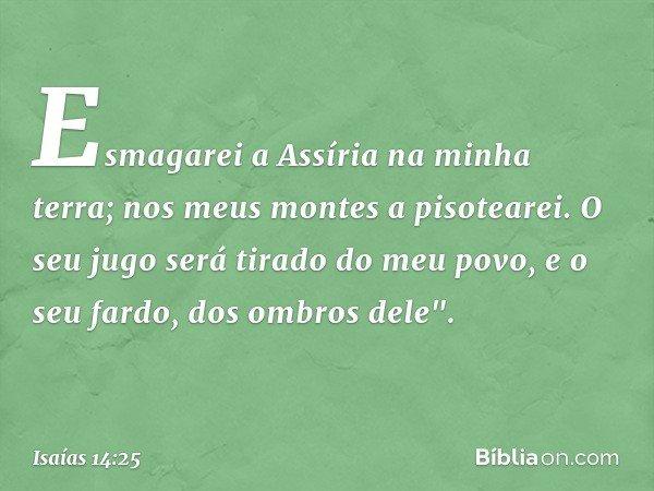 """Esmagarei a Assíria na minha terra; nos meus montes a pisotearei. O seu jugo será tirado do meu povo, e o seu fardo, dos ombros dele"""". -- Isaías 14:25"""