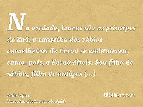 Na verdade, loucos são os príncipes de Zoã; o conselho dos sábios conselheiros de Faraó se embruteceu; como, pois, a Faraó direis: Sou filho de sábios, filho de