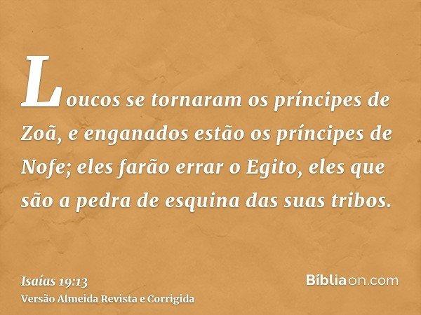 Loucos se tornaram os príncipes de Zoã, e enganados estão os príncipes de Nofe; eles farão errar o Egito, eles que são a pedra de esquina das suas tribos.