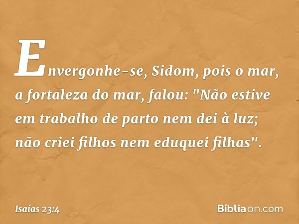 """Envergonhe-se, Sidom, pois o mar, a fortaleza do mar, falou: """"Não estive em trabalho de parto nem dei à luz; não criei filhos nem eduquei filhas"""". -- Isaías 23:"""
