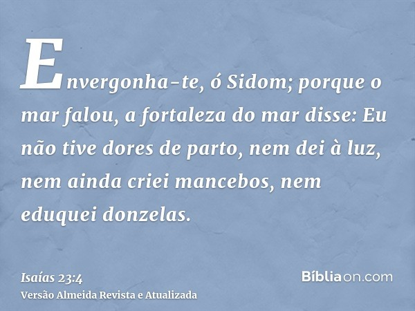 Envergonha-te, ó Sidom; porque o mar falou, a fortaleza do mar disse: Eu não tive dores de parto, nem dei à luz, nem ainda criei mancebos, nem eduquei donzelas.