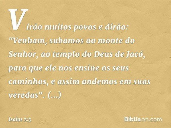 """Virão muitos povos e dirão: """"Venham, subamos ao monte do Senhor, ao templo do Deus de Jacó, para que ele nos ensine os seus caminhos, e assim andemos em suas ve"""