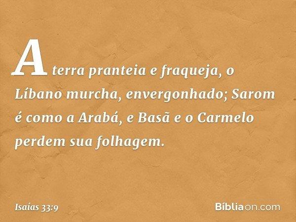 A terra pranteia e fraqueja, o Líbano murcha, envergonhado; Sarom é como a Arabá, e Basã e o Carmelo perdem sua folhagem. -- Isaías 33:9