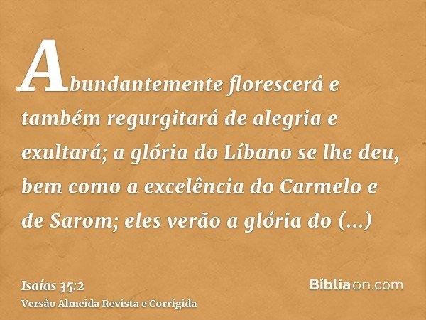 Abundantemente florescerá e também regurgitará de alegria e exultará; a glória do Líbano se lhe deu, bem como a excelência do Carmelo e de Sarom; eles verão a g