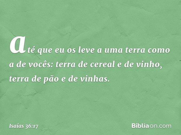 até que eu os leve a uma terra como a de vocês: terra de cereal e de vinho, terra de pão e de vinhas. -- Isaías 36:17