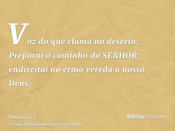 Voz do que clama no deserto: Preparai o caminho do SENHOR; endireitai no ermo vereda a nosso Deus.