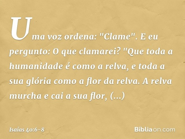 """Uma voz ordena: """"Clame"""". E eu pergunto: O que clamarei? """"Que toda a humanidade é como a relva, e toda a sua glória como a flor da relva. A relva murcha e cai a"""
