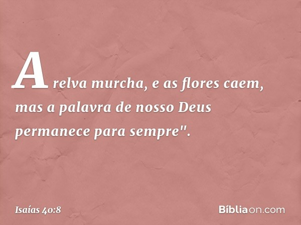 """A relva murcha, e as flores caem, mas a palavra de nosso Deus permanece para sempre"""". -- Isaías 40:8"""