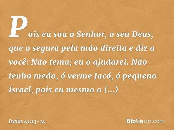 Pois eu sou o Senhor, o seu Deus, que o segura pela mão direita e diz a você: Não tema; eu o ajudarei. Não tenha medo, ó verme Jacó, ó pequeno Israel, pois eu m