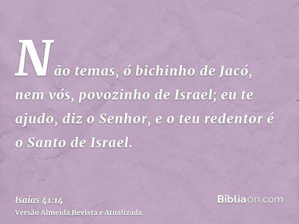 Não temas, ó bichinho de Jacó, nem vós, povozinho de Israel; eu te ajudo, diz o Senhor, e o teu redentor é o Santo de Israel.
