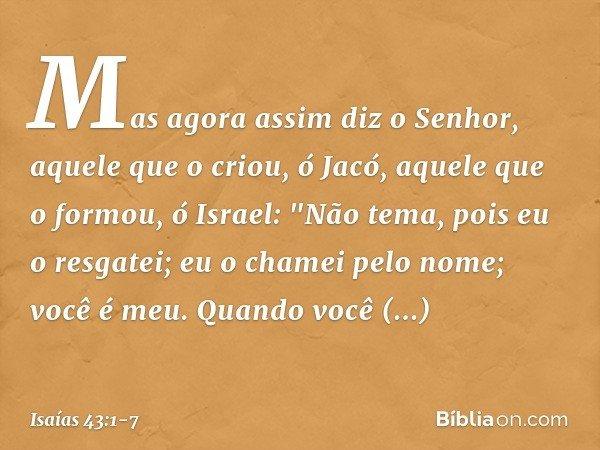 Mas agora assim diz o Senhor, aquele que o criou, ó Jacó, aquele que o formou, ó Israel: