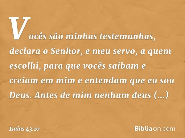 """""""Vocês são minhas testemunhas"""", declara o Senhor, """"e meu servo, a quem escolhi, para que vocês saibam e creiam em mim e entendam que eu sou Deus. Antes de mim n"""
