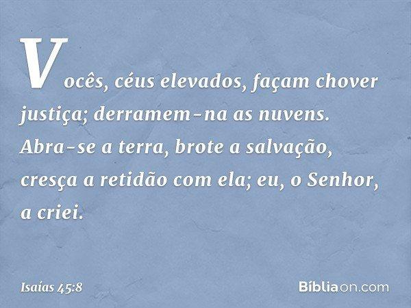 """""""Vocês, céus elevados, façam chover justiça; derramem-na as nuvens. Abra-se a terra, brote a salvação, cresça a retidão com ela; eu, o Senhor, a criei. -- Isaía"""
